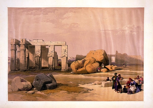 Fragments of the great colossus at the memnorium--Thebes
