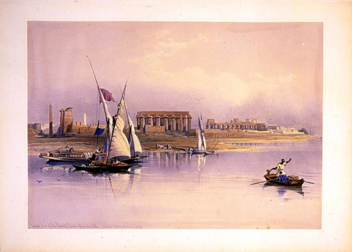 General view of the ruins of Luxor from the Nile 1838