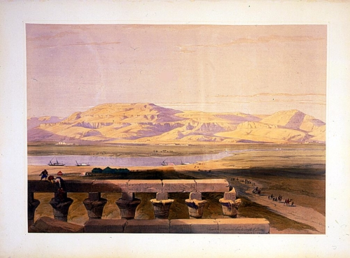 Lybyan chain of mountains from the Temple of Luxor