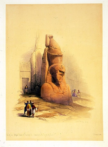 One of two colossal statues of Rameses II entrance to the Temple of Luxor
