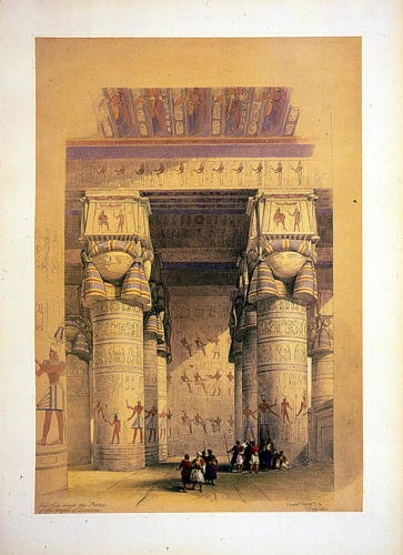 View from under the portico of the Temple of Dendera