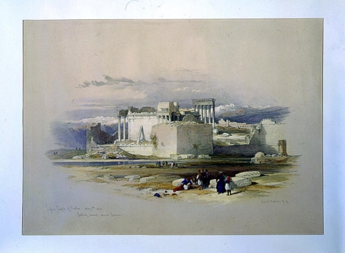 Lesser temple of Baalbec May 5th 1839 looking towards Mount Lebanon