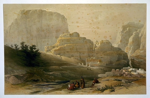 Lower end of the valley showing the Acropolis Petra March 9th 1839