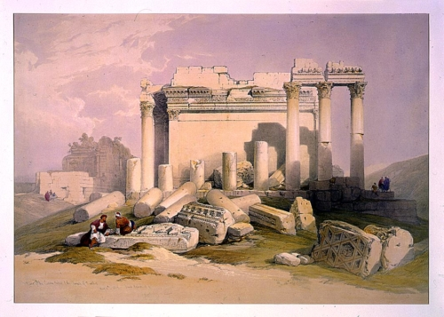 Ruins of the eastern portico of the Temple of Baalbec May 6th 1839