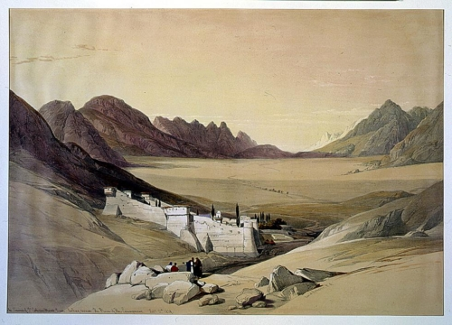 The convent of St_ Catherine Mount Sinai looking towards the plain of the encampment Feby 21st 1839