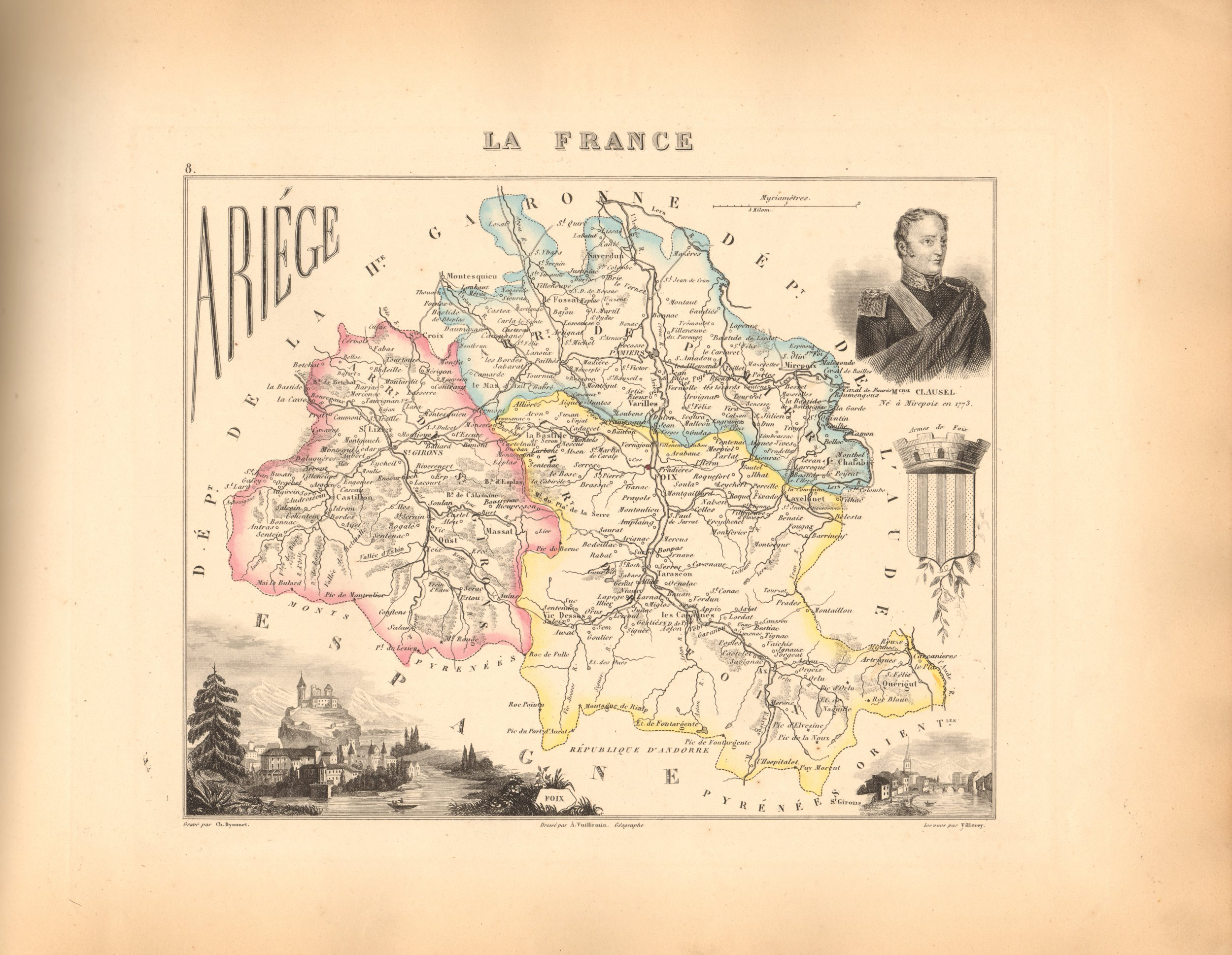 Ariege - French Department Map