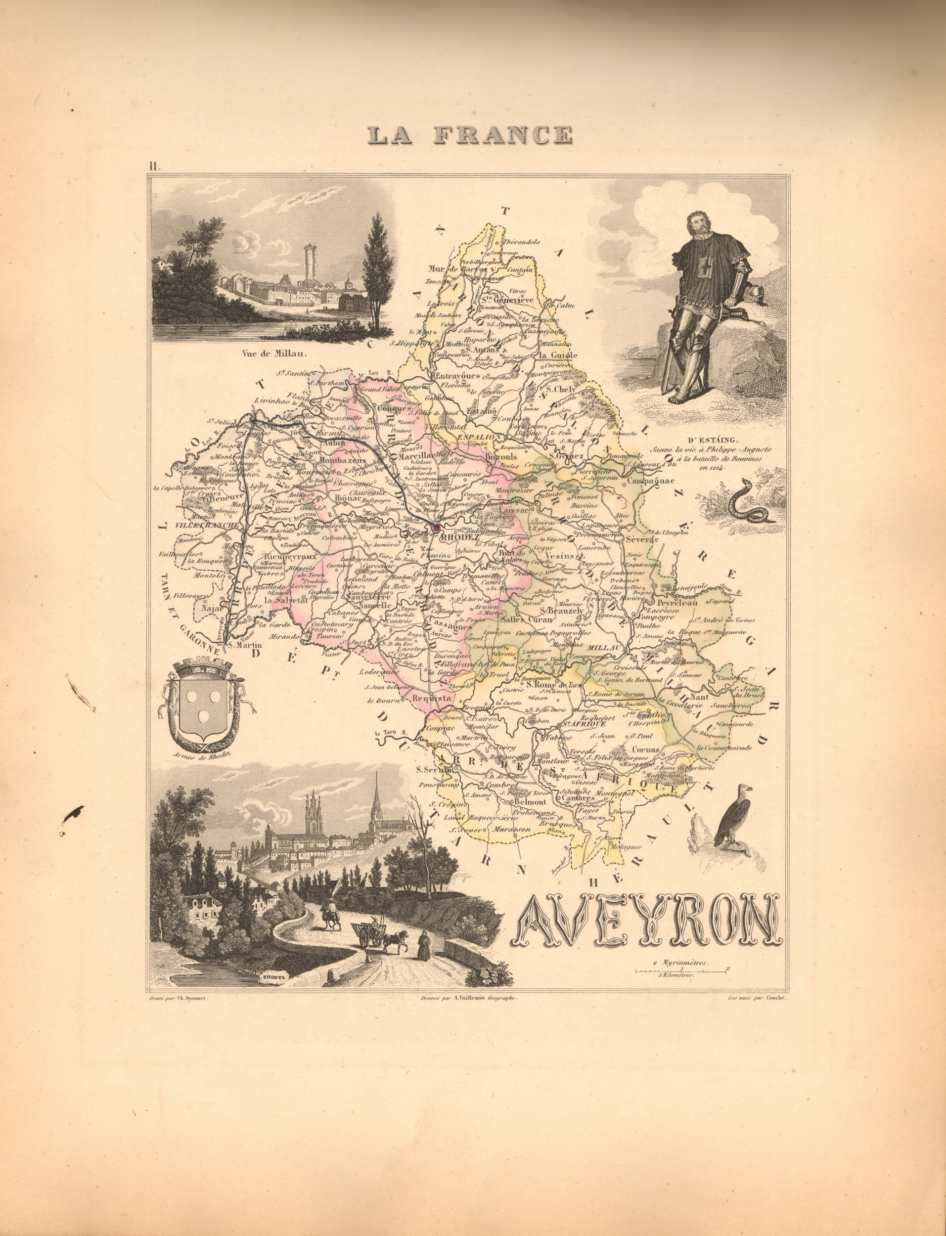 Aveyron - French Department Map