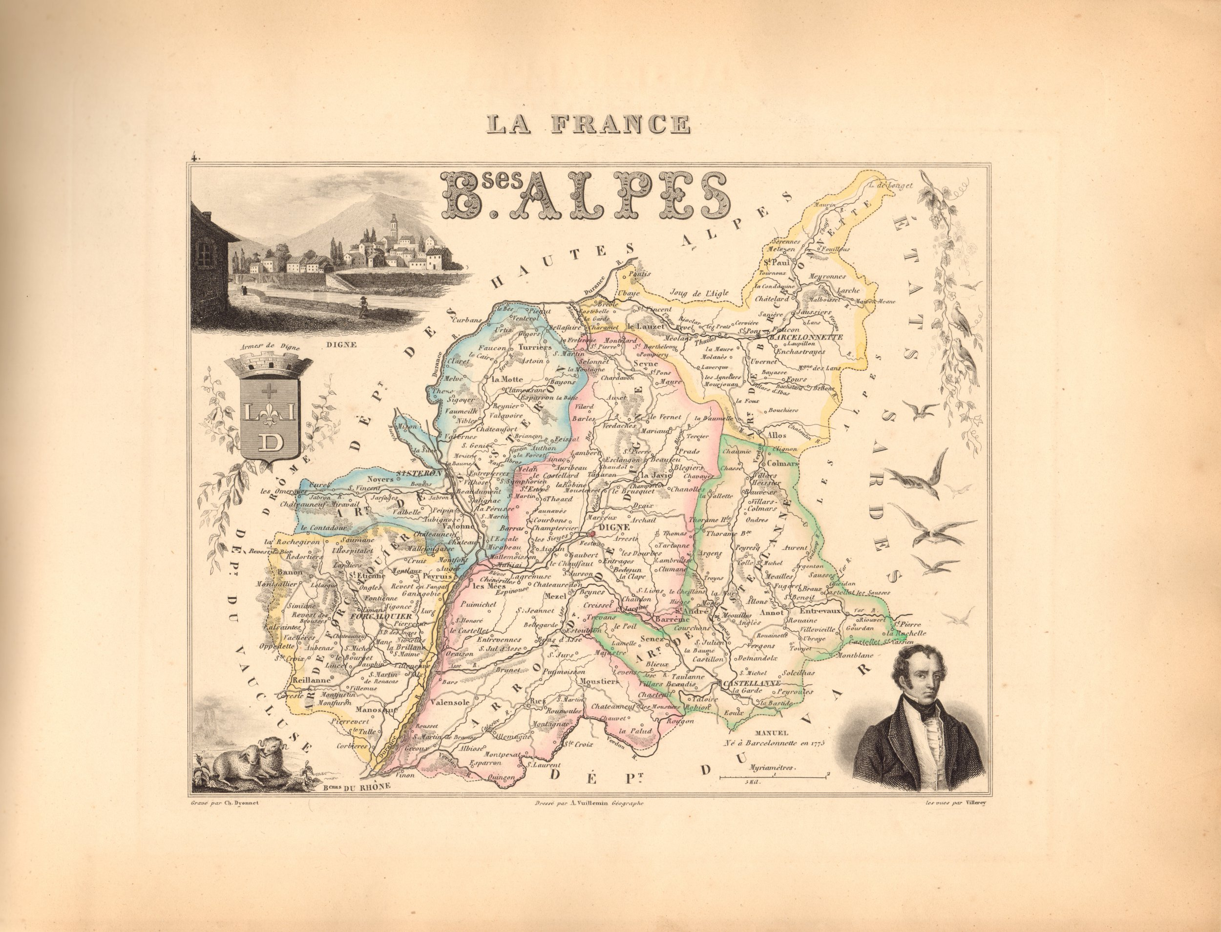 Basses Alpes - French Department Map
