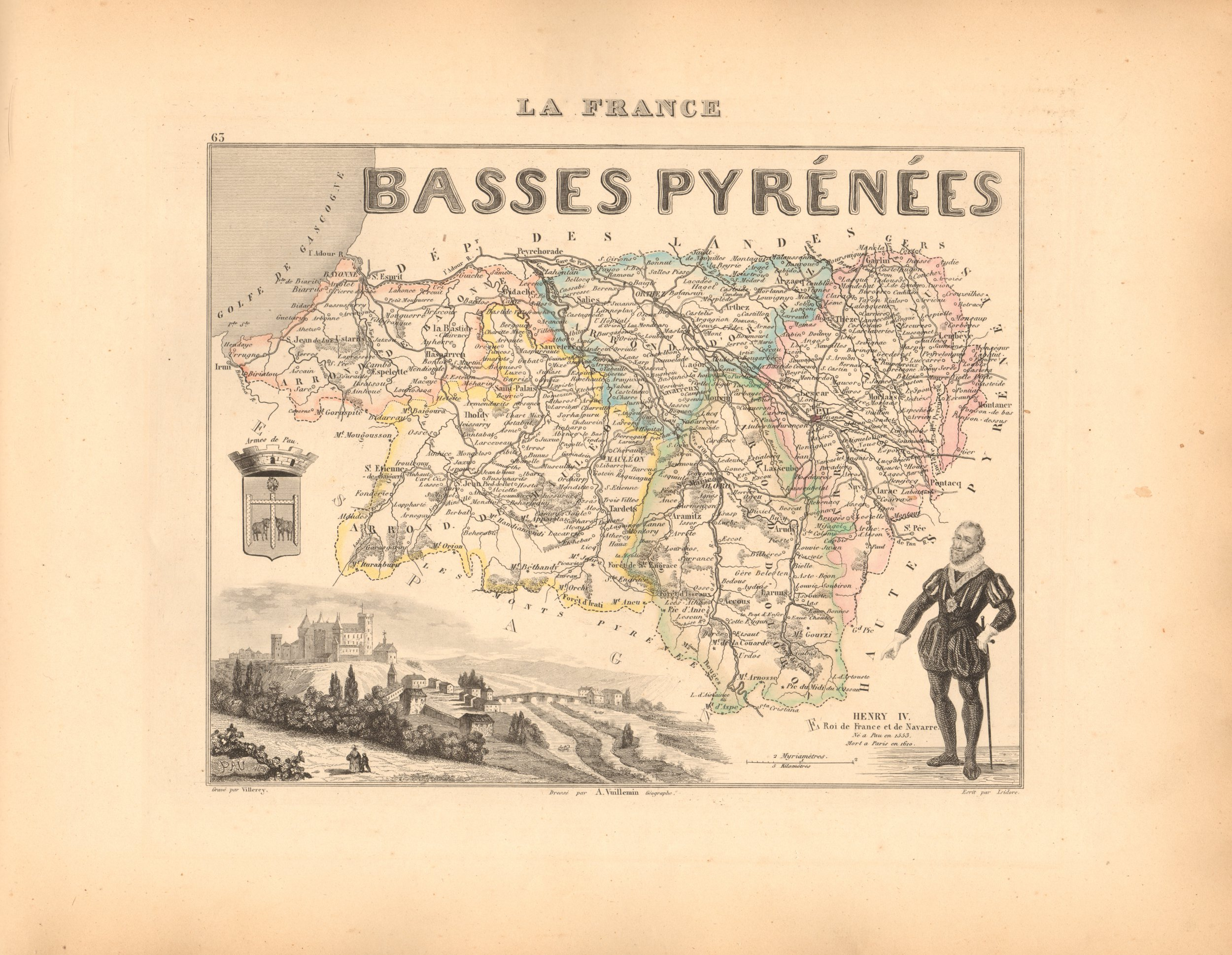 Basses Pyrenees. - French Department Map