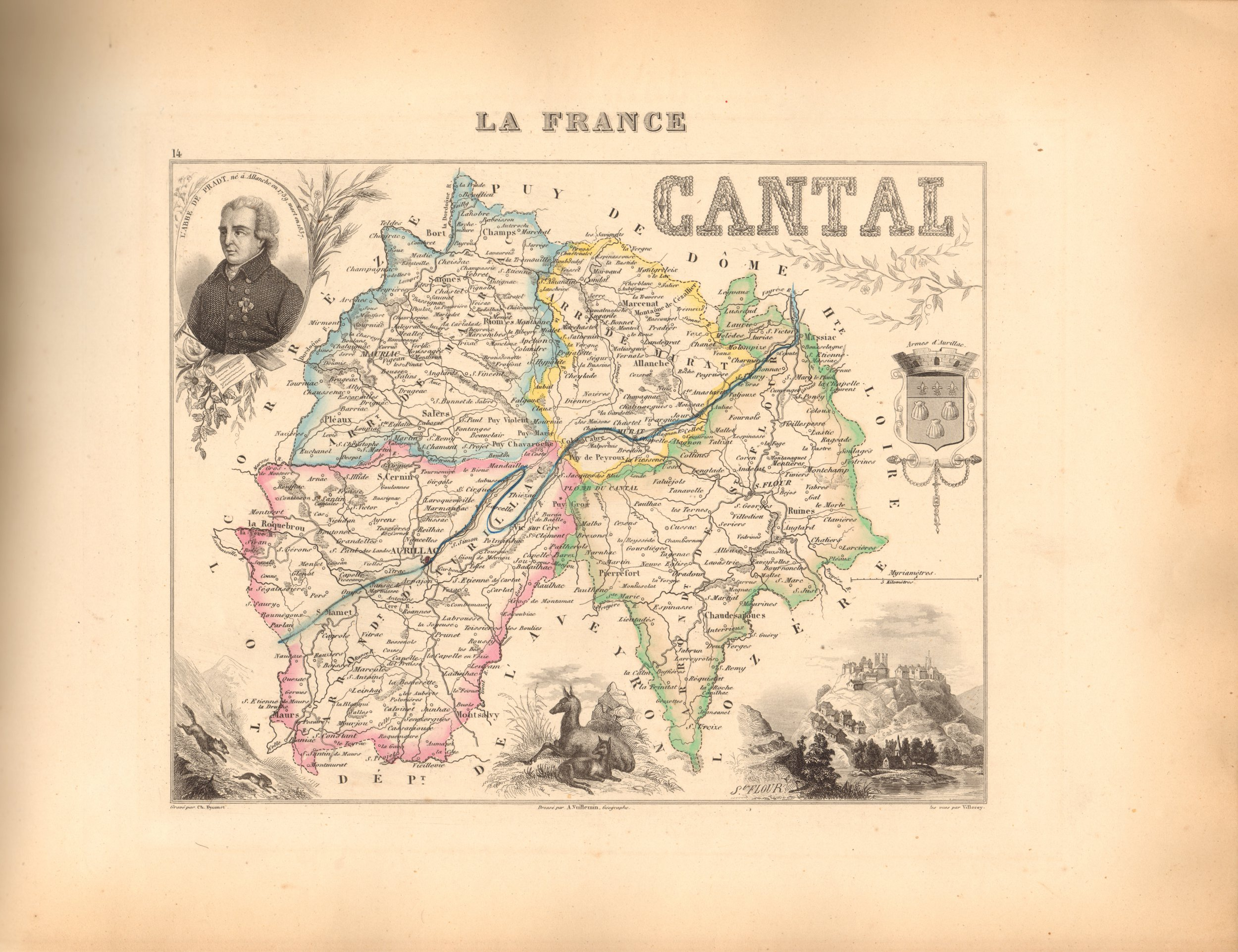 Cantal - French Department Map