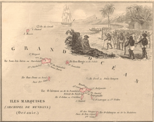 Colonies - Iles Marquises (Marquesas Islands) French Atlas Map