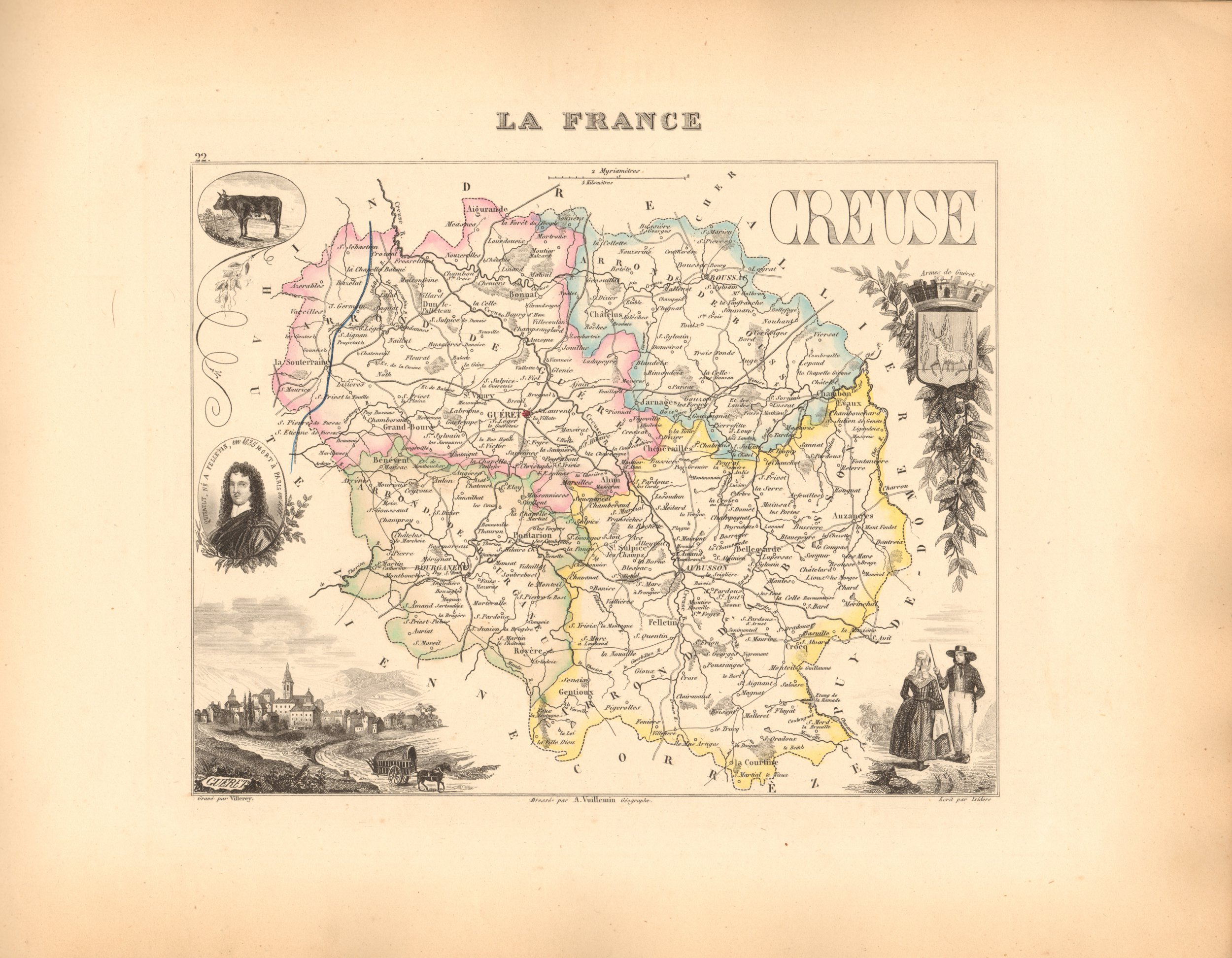 Creuse - French Department Map