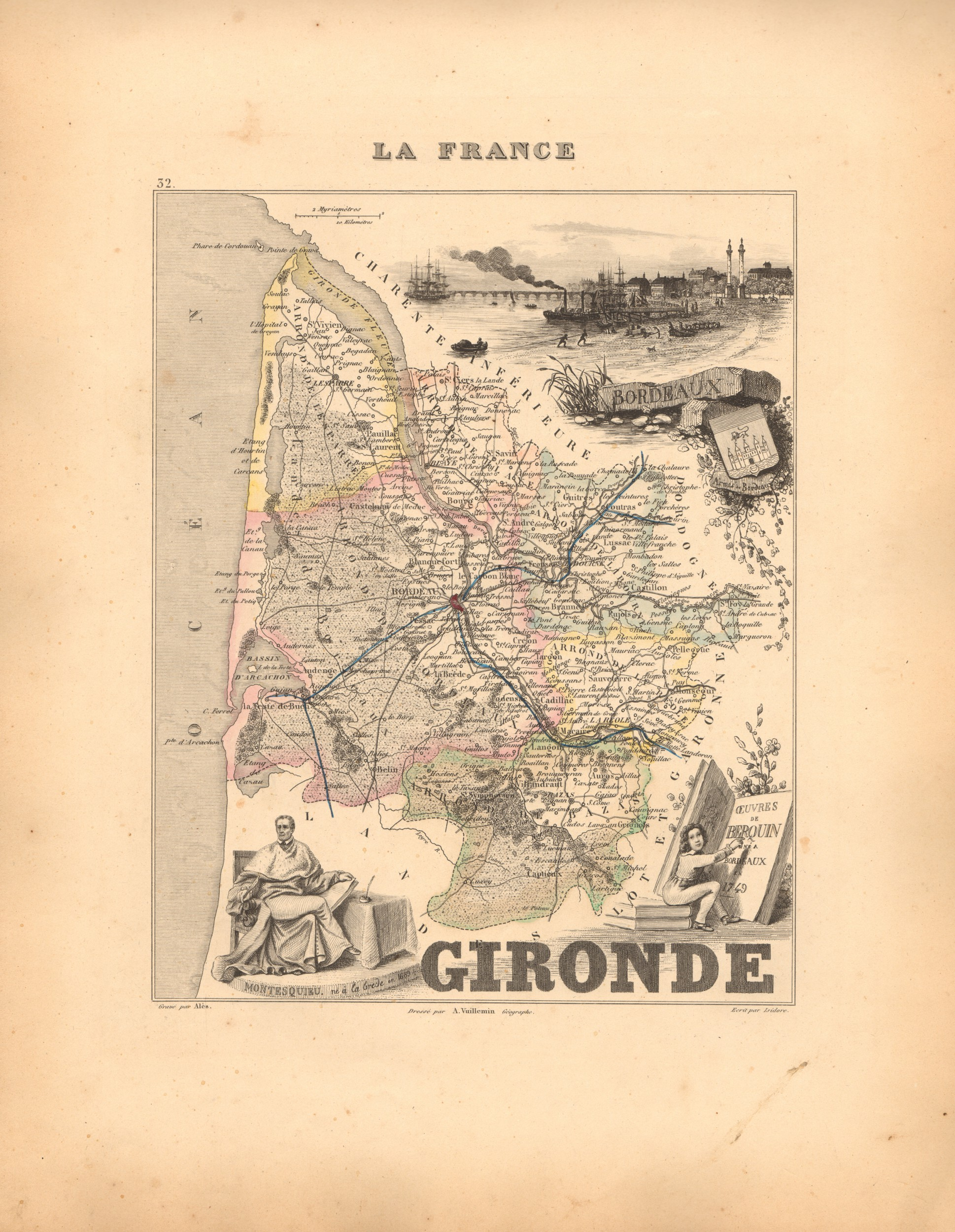 Gironde - French Department Map