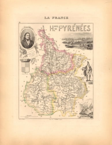 Hautes Pyrenees - French Department Map