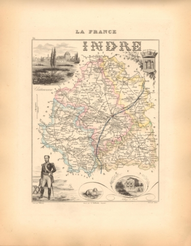 Indre - French Department Map