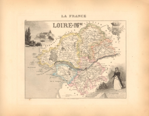 Loire Inferieure - French Department Map