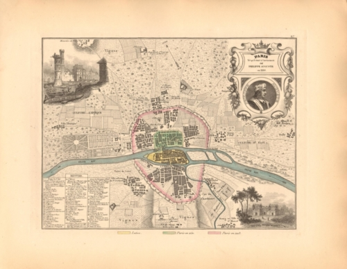 Paris en 1180 - 19th century map of Paris in the 12th Century