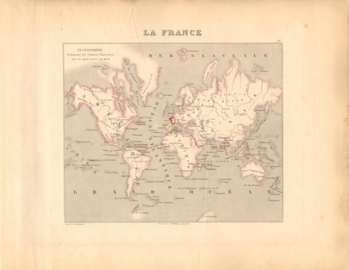 Planisphere (World Map) French Atlas Map