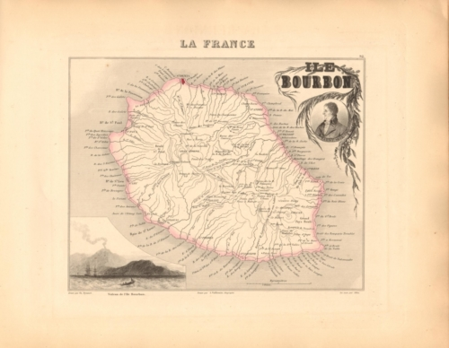 Ile Bourbon (Reunion) - French Department Map