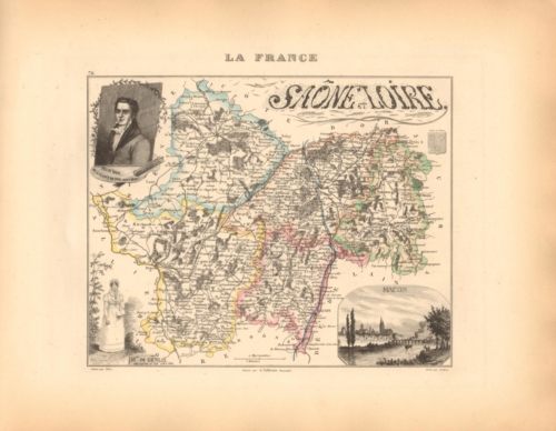 Saone et Loire - French Department Map