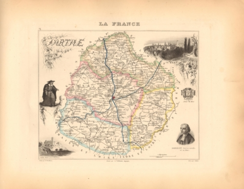 Sarthe - French Department Map