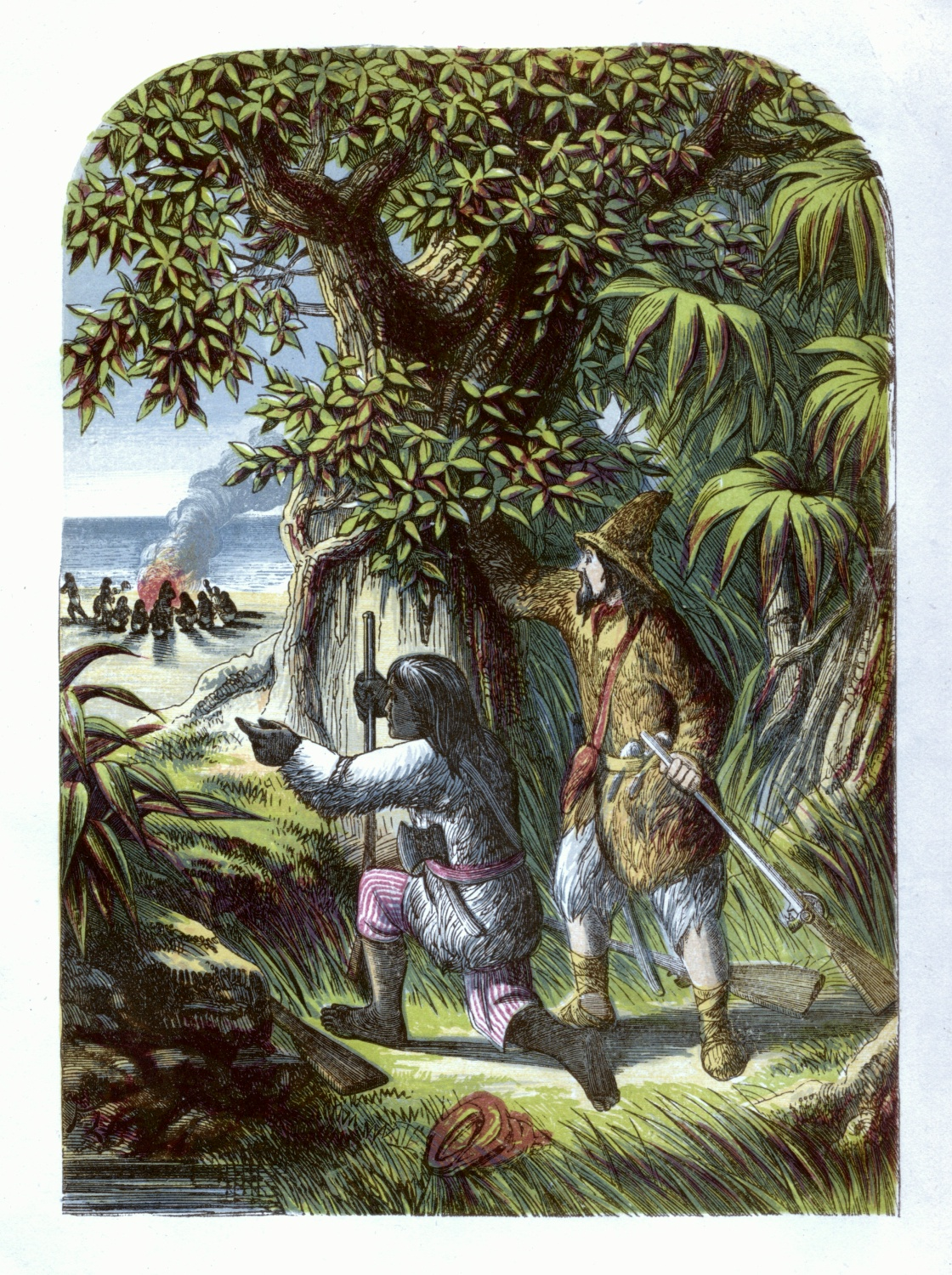 Robinson Crusoe and Friday attacking the savages