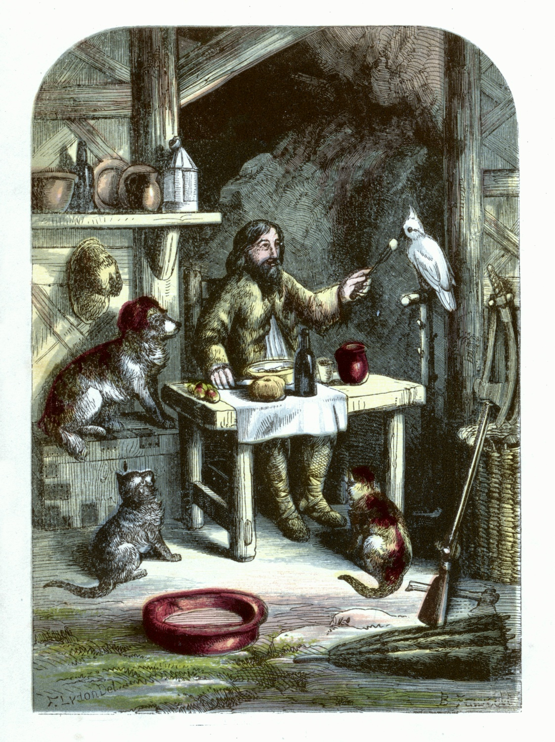 Robinson Crusoe at dinner with his little family