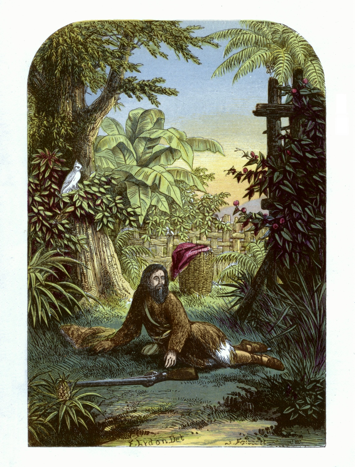 Robinson Crusoe awakened from sleep by his parrot