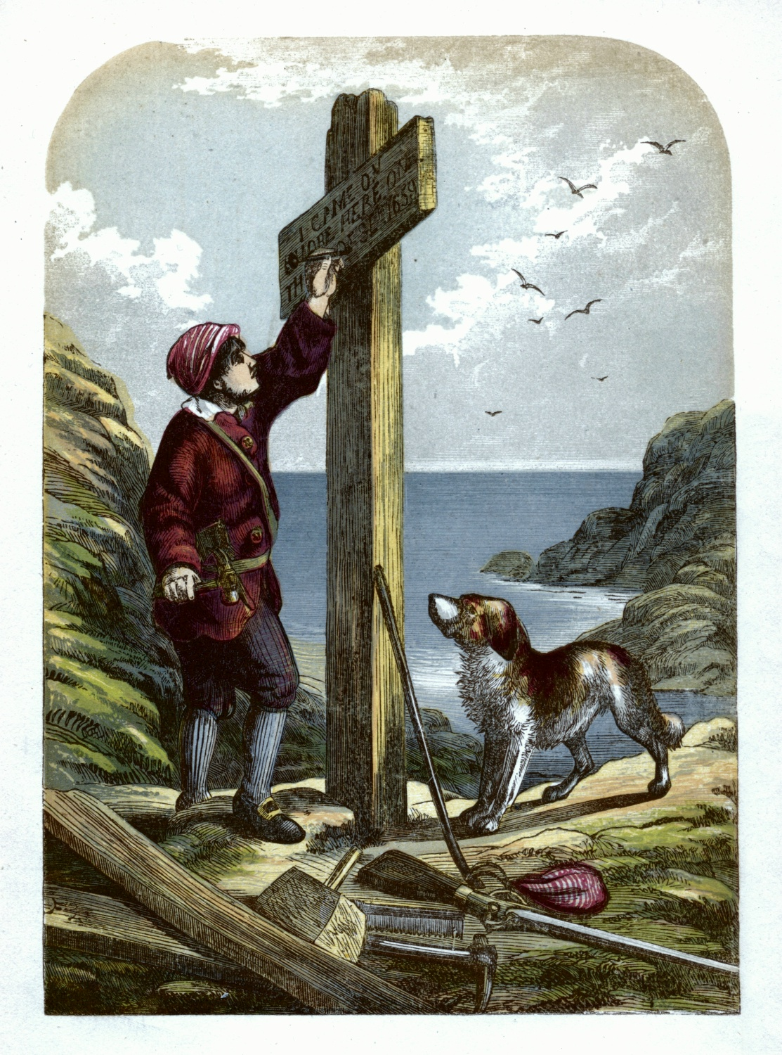 Robinson Crusoe erects a post on the shore