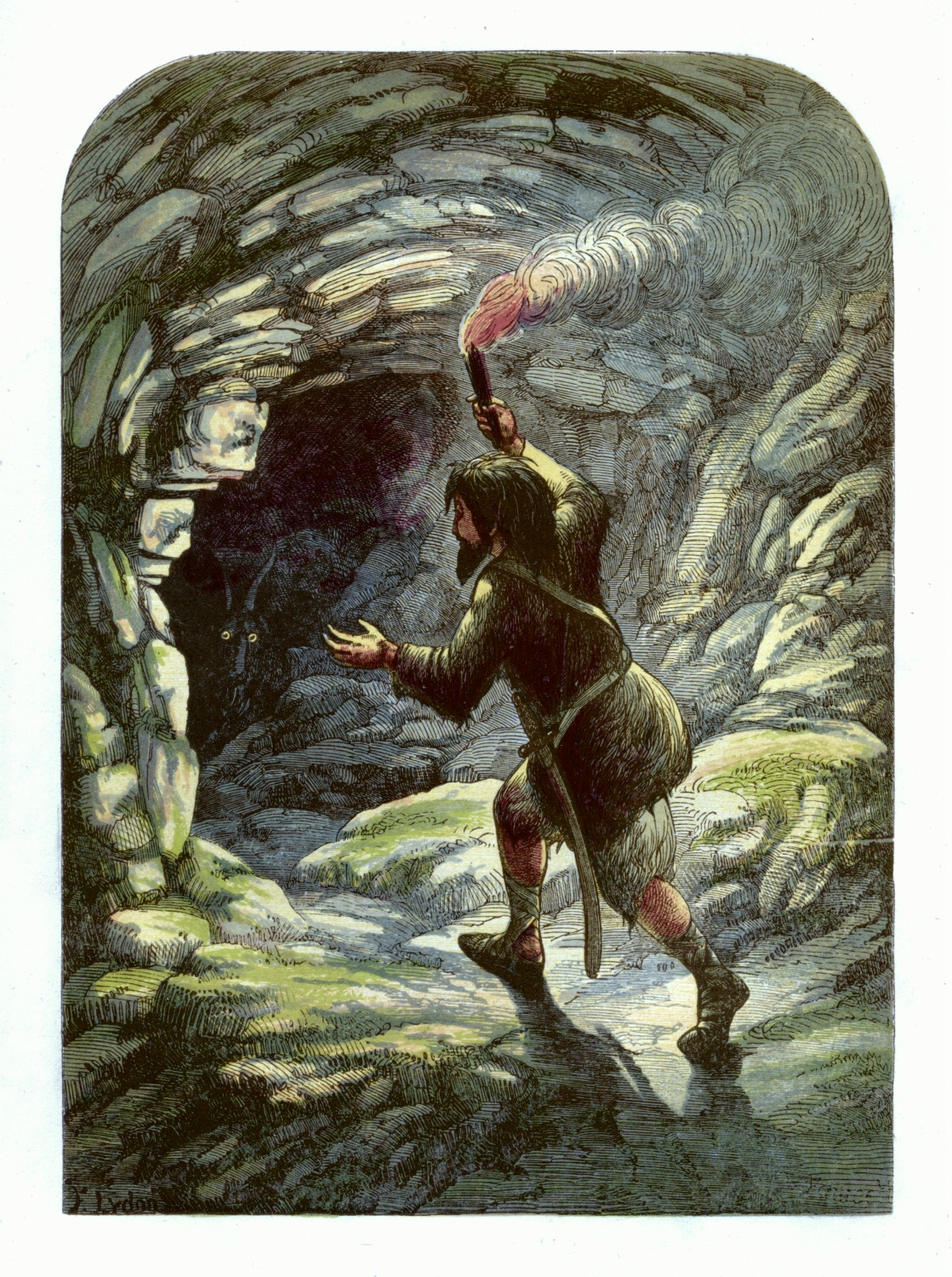 Robinson Crusoe frightened by a goat in a cave