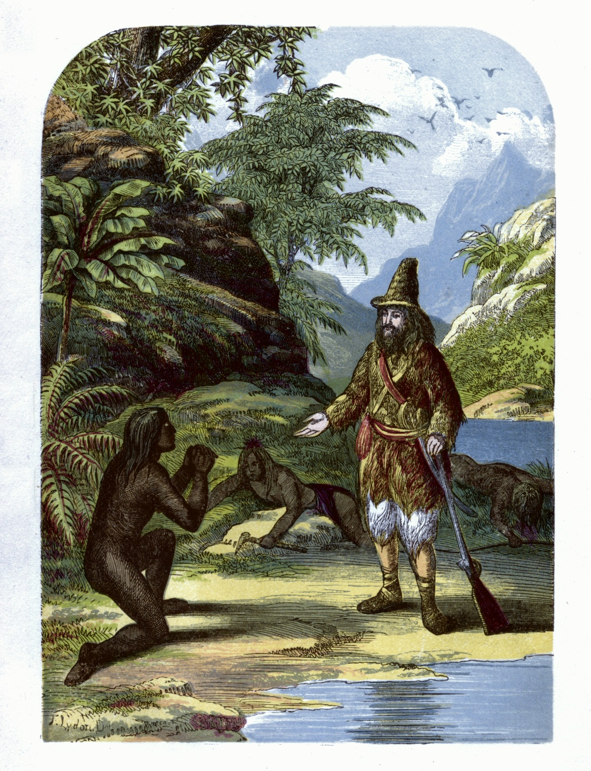 Robinson Crusoe rescuing Friday from the savages