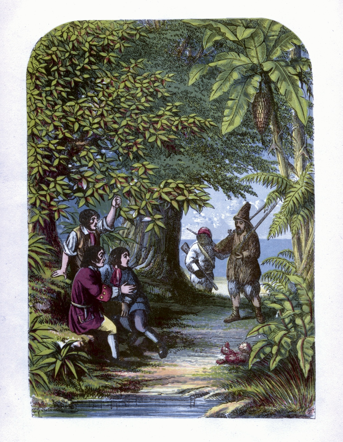 Robinson Crusoe surprising the three Englishmen