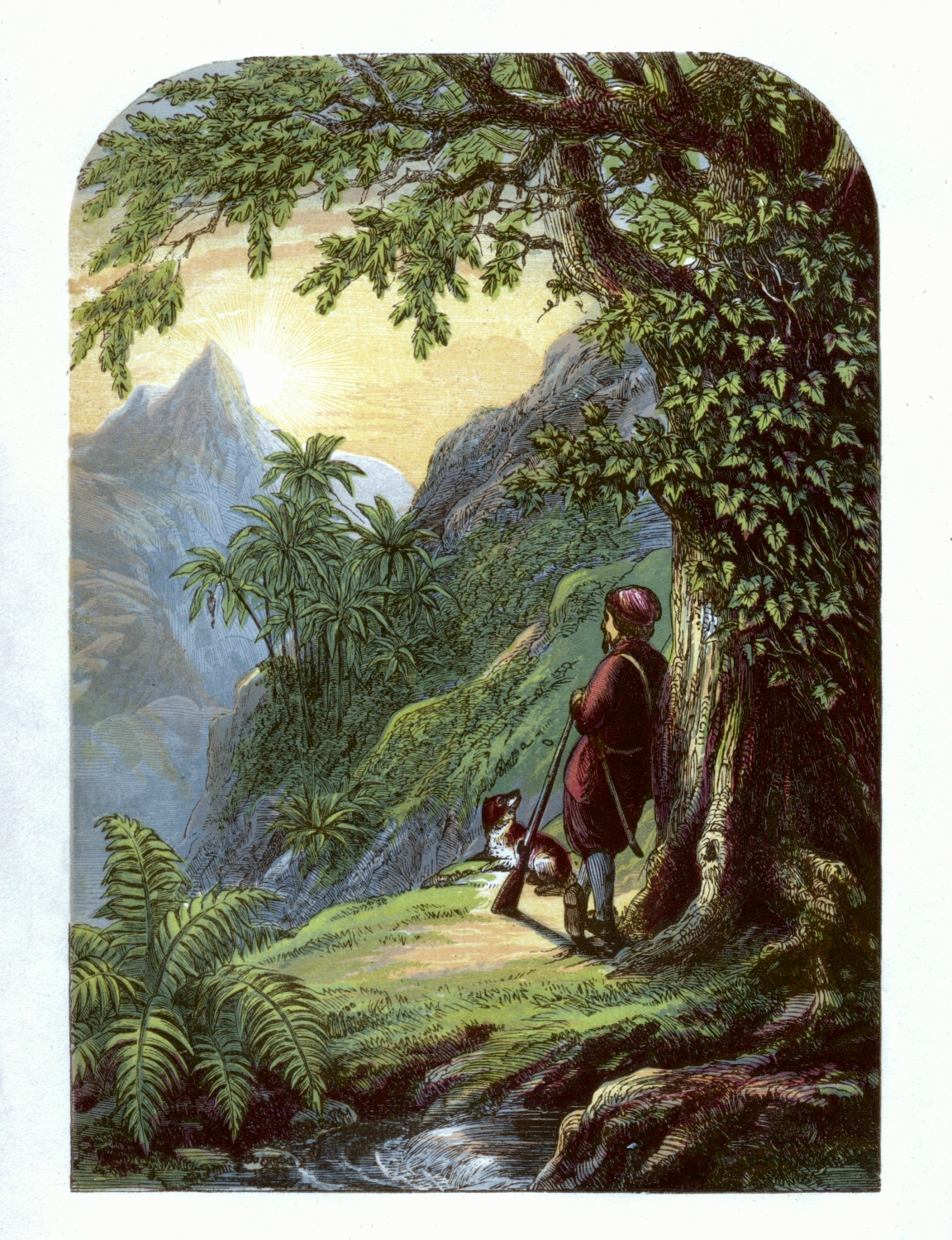 Robinson Crusoe taking a survey of the Island