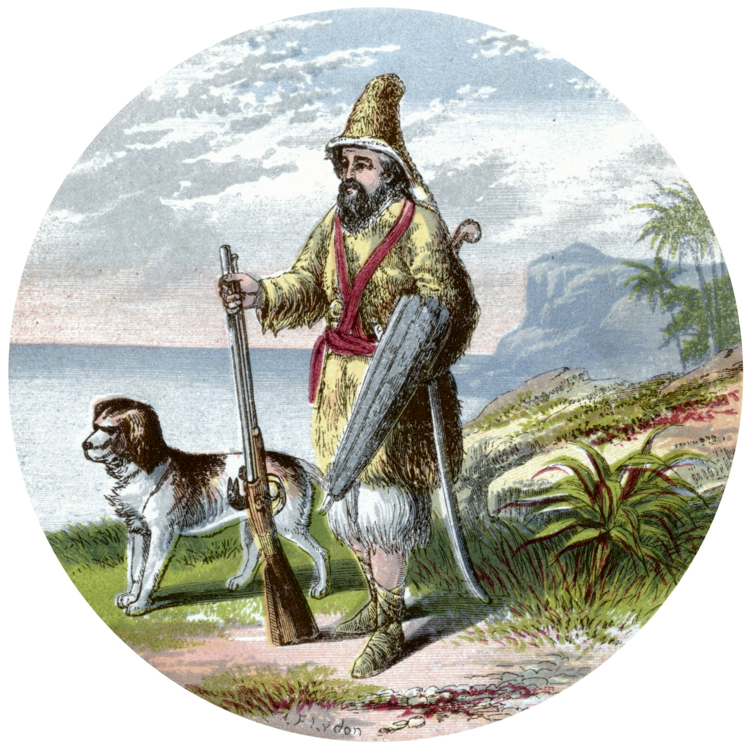 Title Page Detail - Robinson Crusoe with his dog and gun