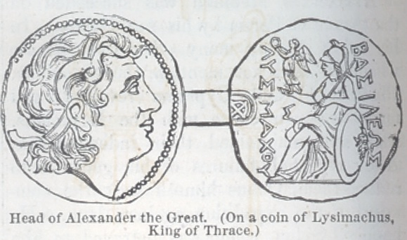 Head of Alexander the Great, on a coin of Lysimachus, Kin g of Thrace