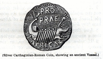 Silver Carthaginian-Roman Coin, showing an ancient Vessel