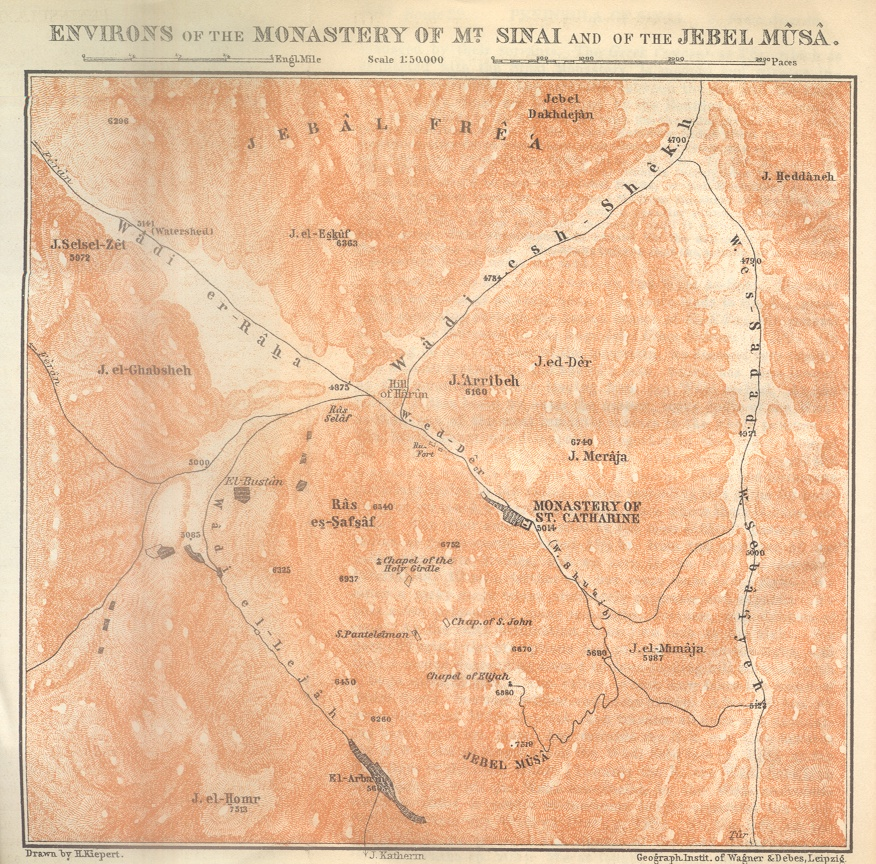 Environs of the Monastery of Mt Sinai and of the Jebel Musa Map