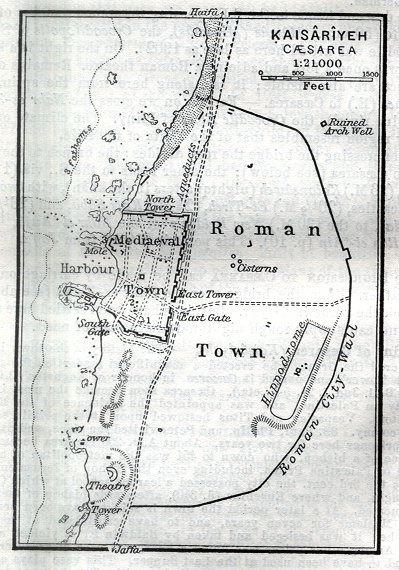 Roman and Mediaeval Towns Map of Kaisariyeh, Caesarea