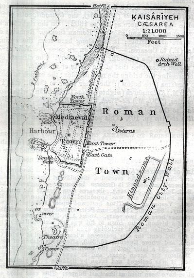 Roman and Mediaeval Towns Map of Kaisariyeh, Caesarea