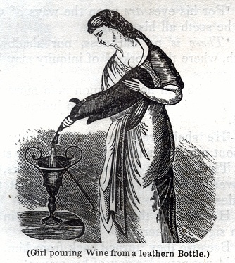 Girl pouring Wine from a leathern Bottle