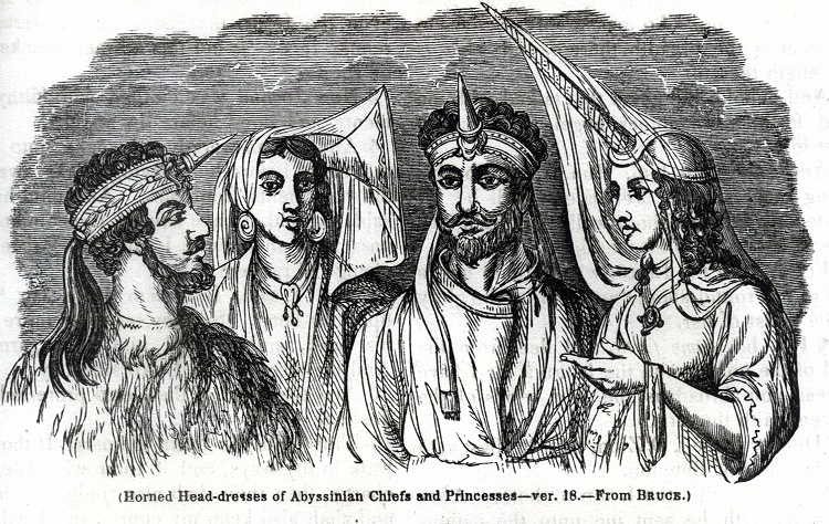 Horned Head - dresses of Abyssinian Chiefs and Princesses - from Bruce