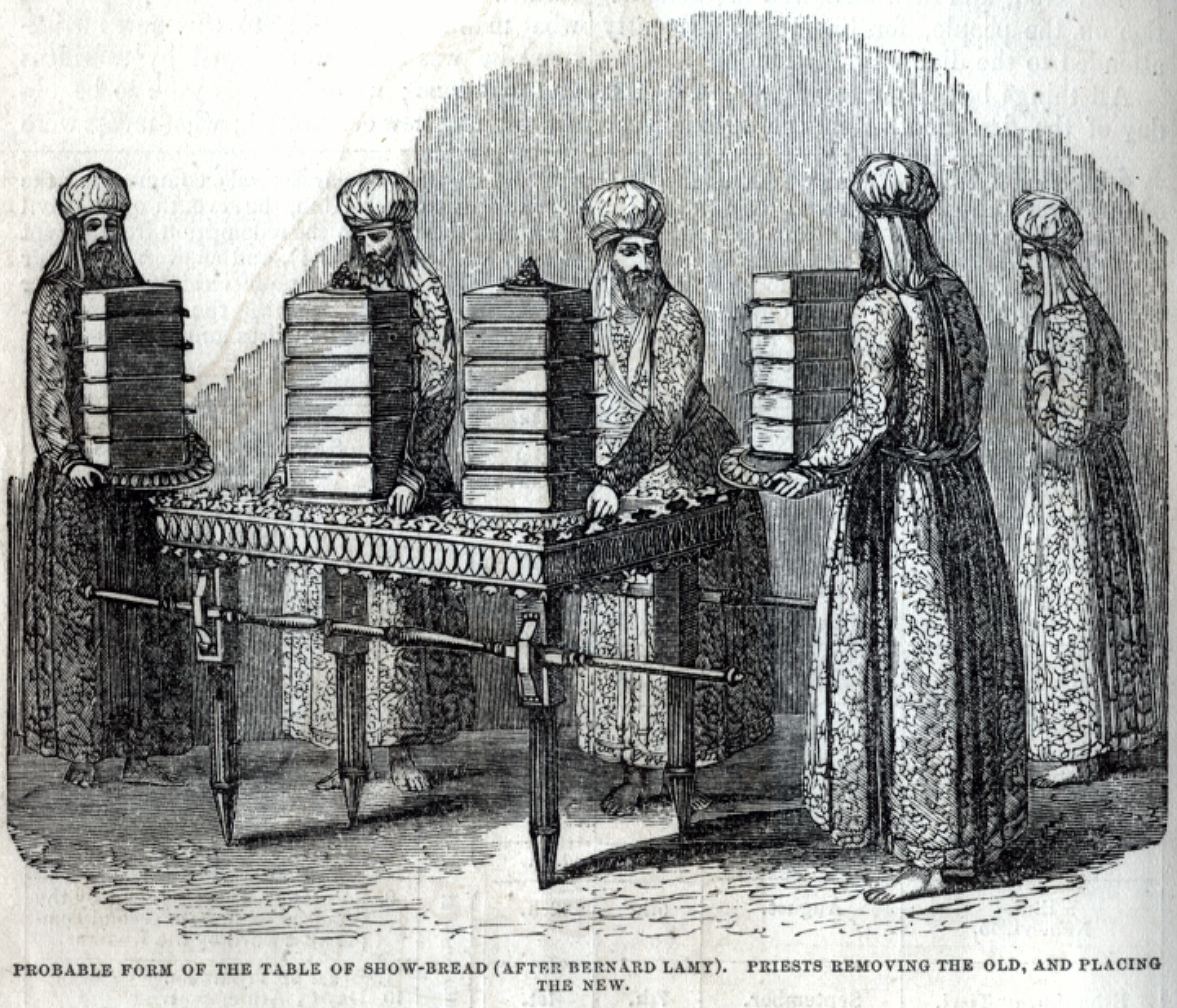 Probable form of the Table of Showbread - Priests removing the old and placing the new