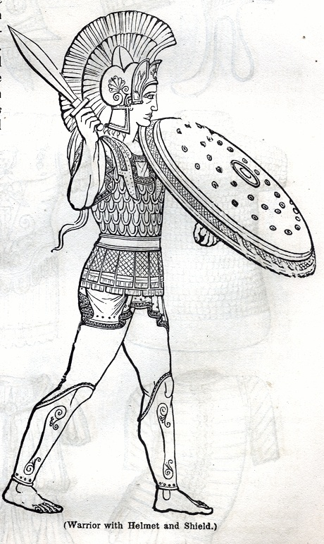 Warrior with Helmet and Shield